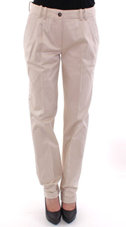 Beige Cotton Chinos Pants