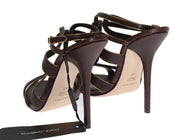 Brown Leather Ankle Strap Sandals