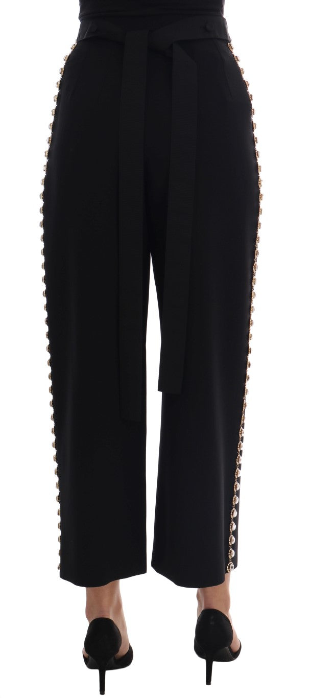 Black Wool Stretch Crystal Pants