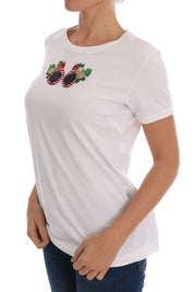 White Cotton Sequined T-Shirt