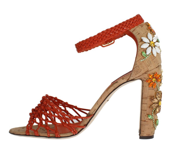 Orange Leather Cork Crystal Sandals