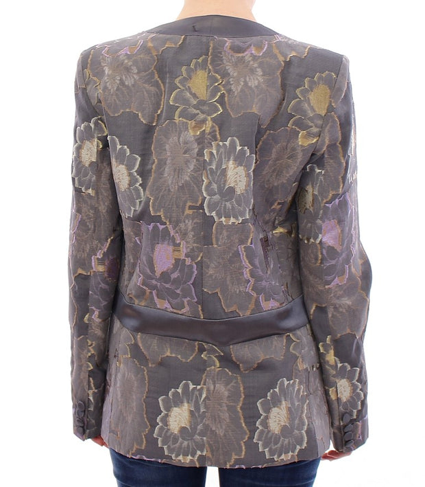 Multicolor Silk Floral Cotton Blazer