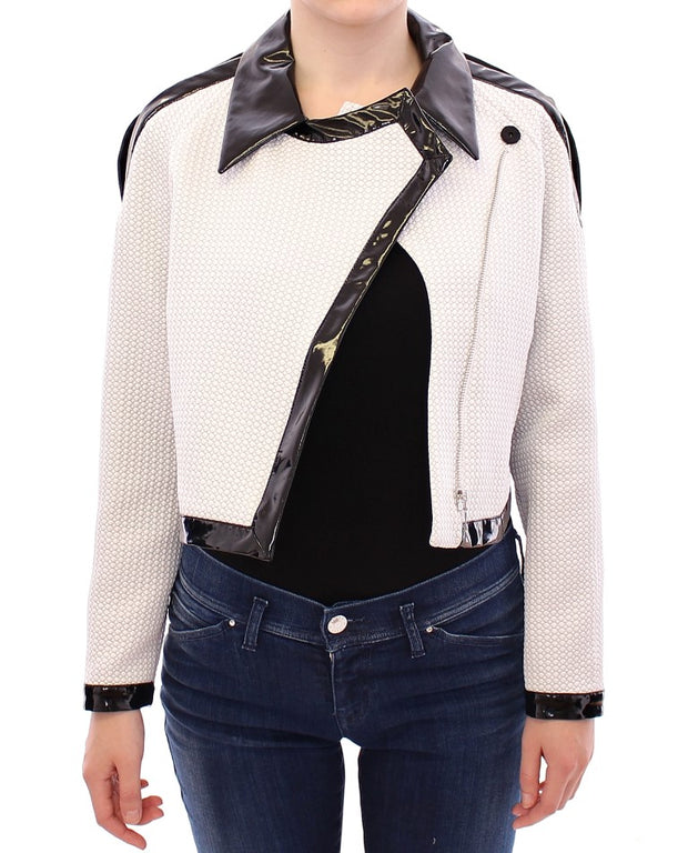 White Black Zipper Closure Cropped Jacket