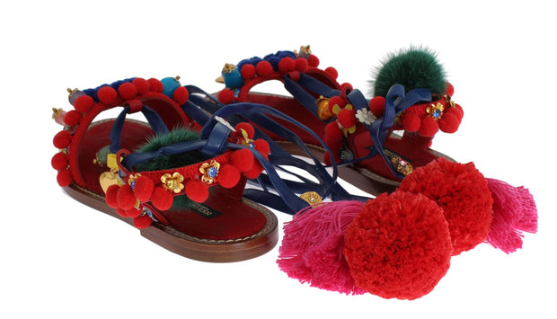Pom Pom Leather Crystal Sandals