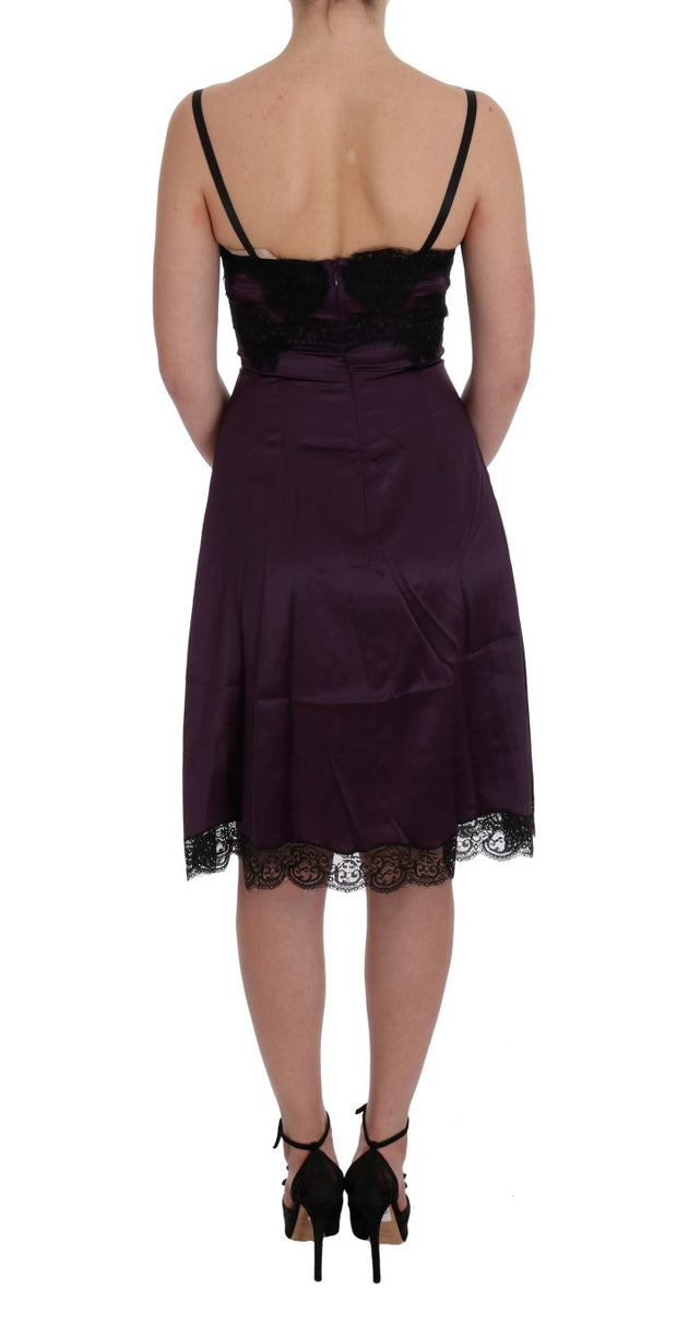 Purple Silk Stretch Black Lace Dress