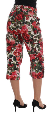 Multicolor Roses Print Brocade Capri Pants