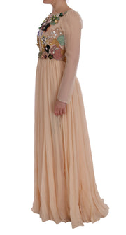 Pink Silk Floral Crystal Maxi Gown Dress