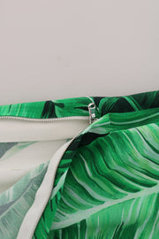 Green Banana Leaf Stretch Flare Pants