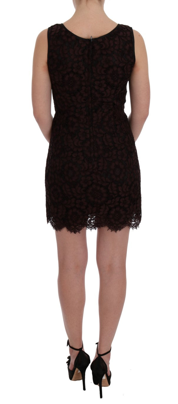 Bordeaux Floral Lace Ricamo Sheath Dress