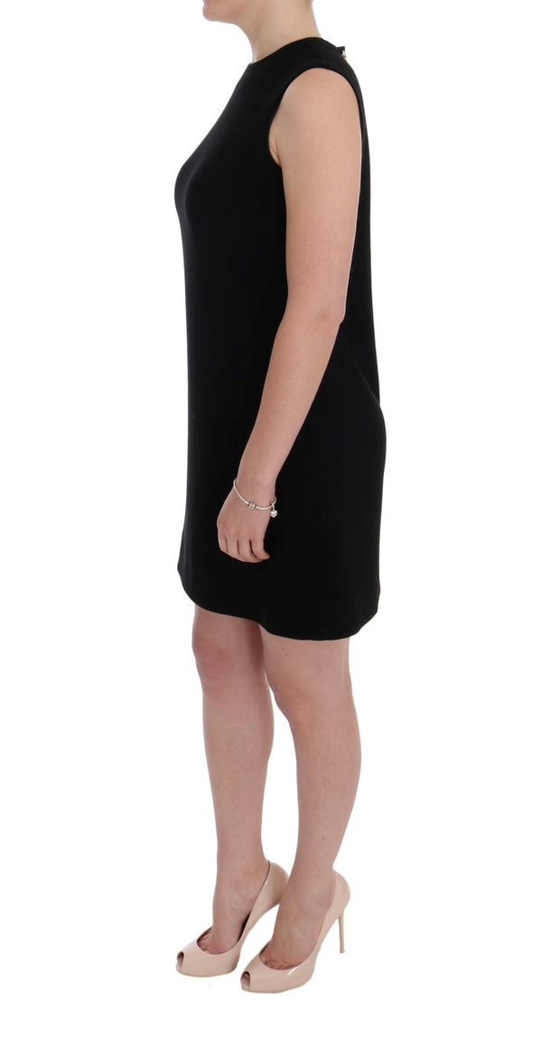Black Wool Stretch Crystal Shift Dress