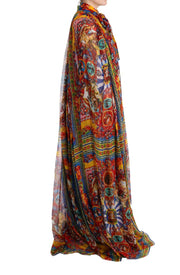 Multicolor Silk Carretto Cape Kaftan Tunic Long Dress