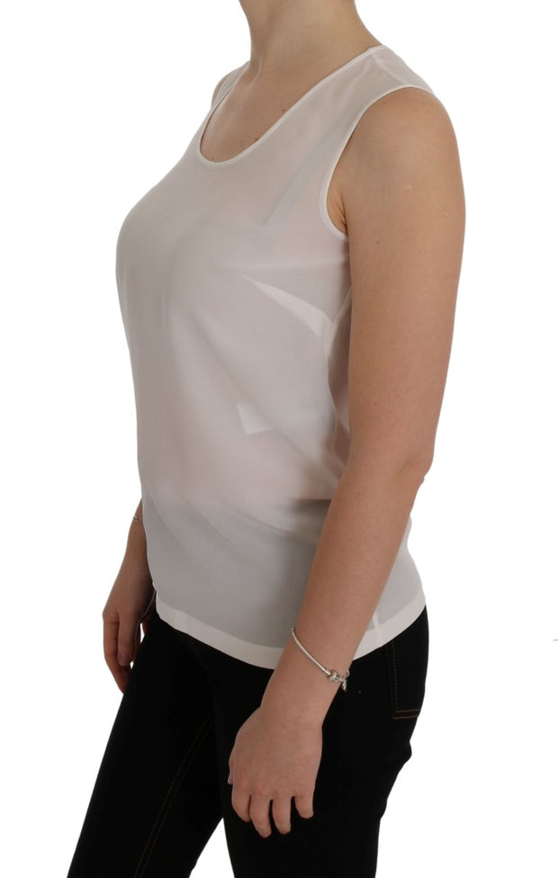White Crystal Sleeveless T-Shirt