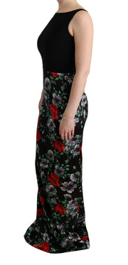 Multicolor Floral Print Stretch Sheath Long Dress