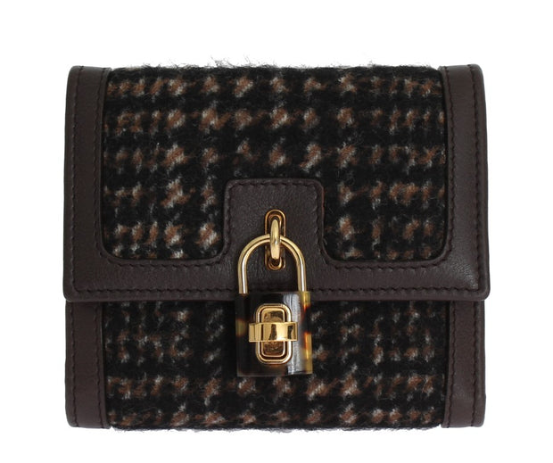 Brown Leather Gold Padlock Trifold Wallet