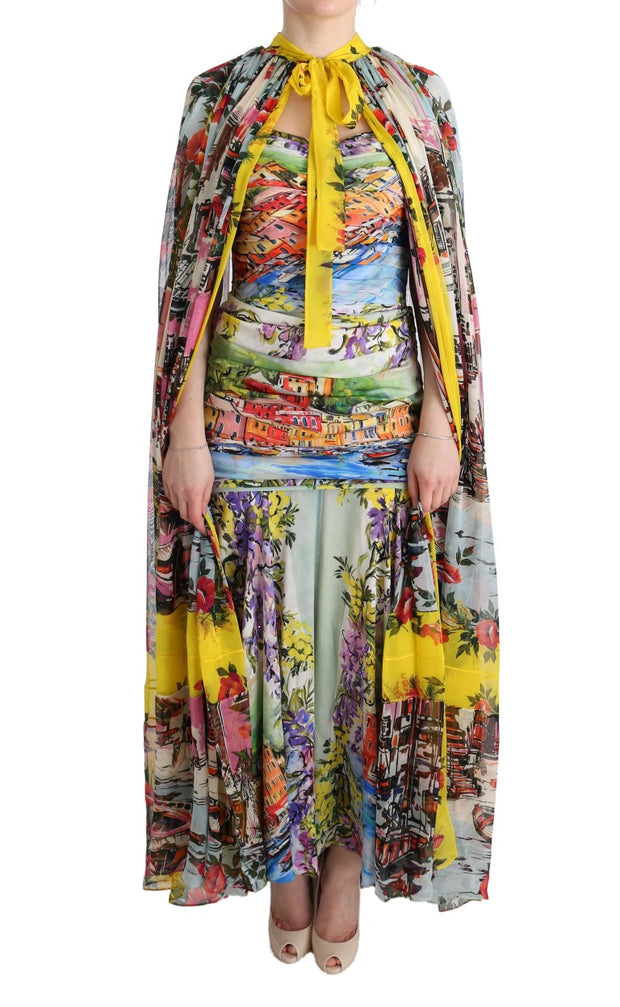 Multicolor Silk Portofino Cape Kaftan Dress