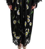 Black White Floral Lace Kaftan Dress