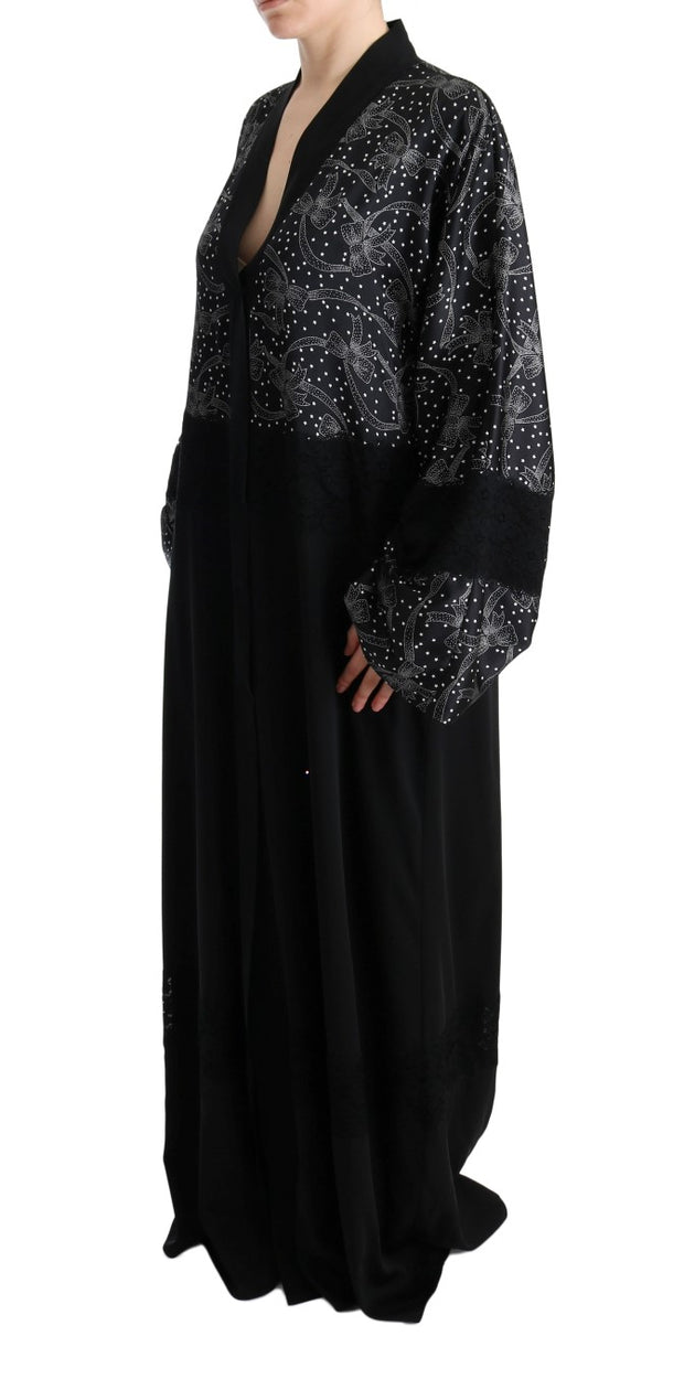 Black White Floral Silk Kaftan Dress