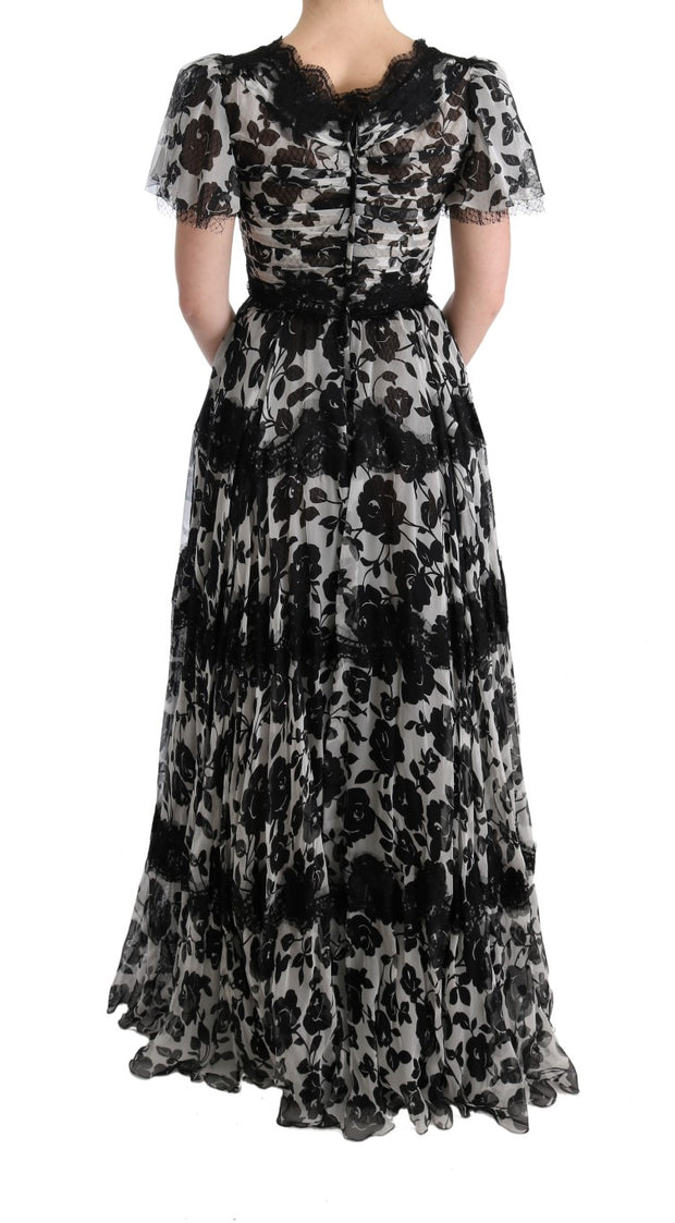 Black White Floral Lace Shift Dress