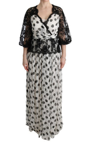 Black White Polka Dotted Floral Dress