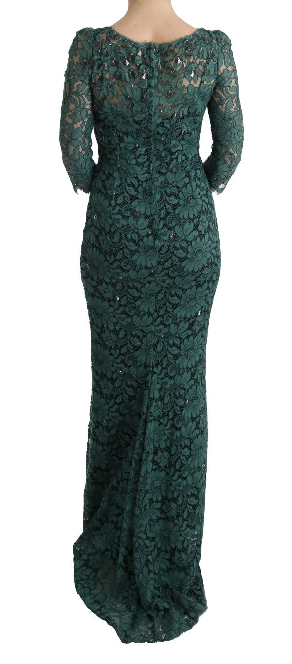 Green Floral Crystal Ricamo Sheath Dress