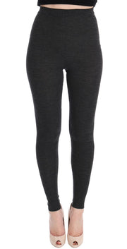 Gray Wool Stretch Tights