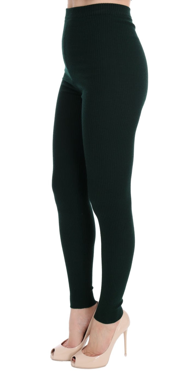 Green Wool Stretch Tights