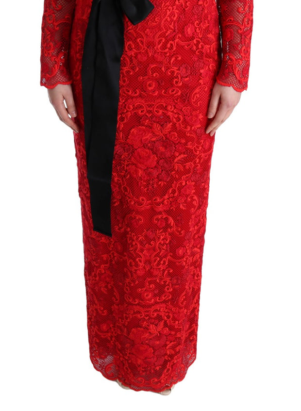 Red Floral Ricamo Sheath Long Dress