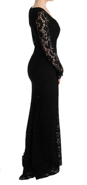 Black Floral Lace Sheath Long Dress