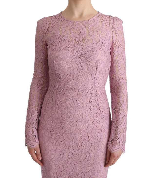 Pink Floral Lace Sheath Long Dress