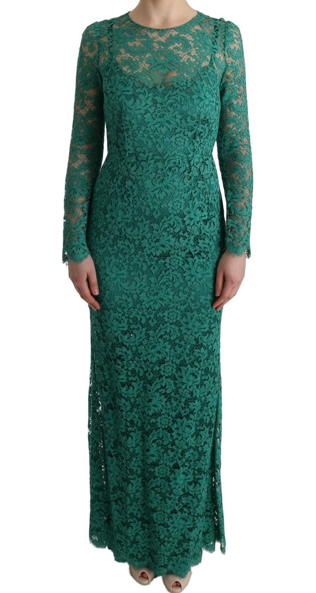 Green Floral Ricamo Sheath Long Dress