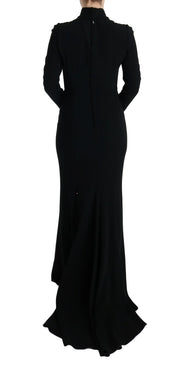 Black Stretch Long Gown Sheath Dress