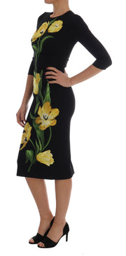 Black Yellow Tulip Wool Crêpe Sheath Dress