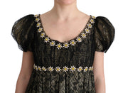 Black Yellow Crystal Lace Shift Dress