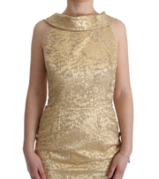Gold Jacquard Sheath Long Dress