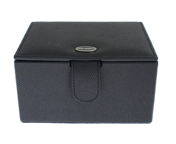 Blue Leather Unisex Two Watch Case Cover Box Storage