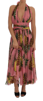 Multicolor Pineapple-Print Silk-Chiffon Dress