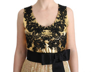 Gold Black Floral Lace Dress