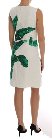 Banana-Leaf Shift Jaquard Brocade Dress
