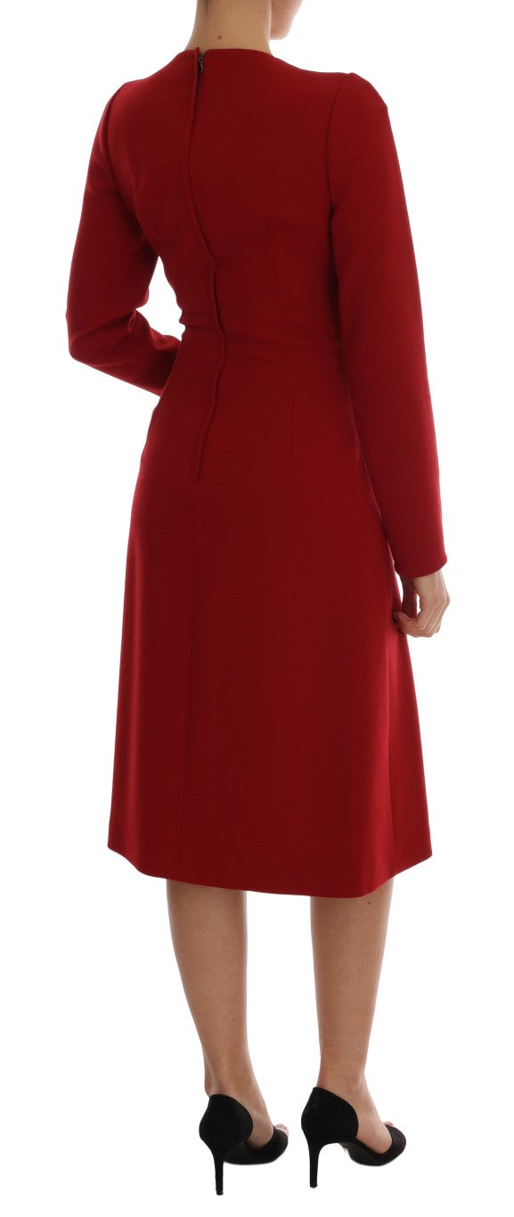 Red Crêpe Sheath Wool Knee-Length Dress