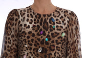 Brown Leopard Crystal Embellished Shift Dress
