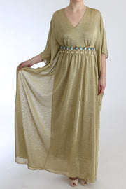Gold Shift Long Blue Crystal Dress