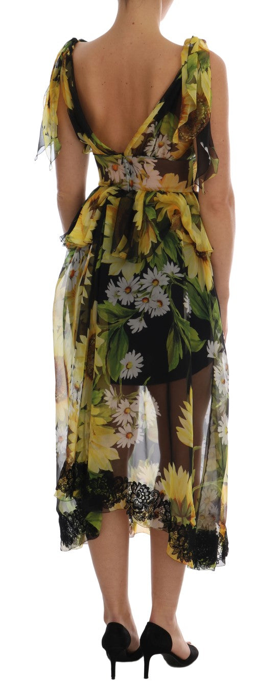 Multicolor Sunflower Floral Lace Dress