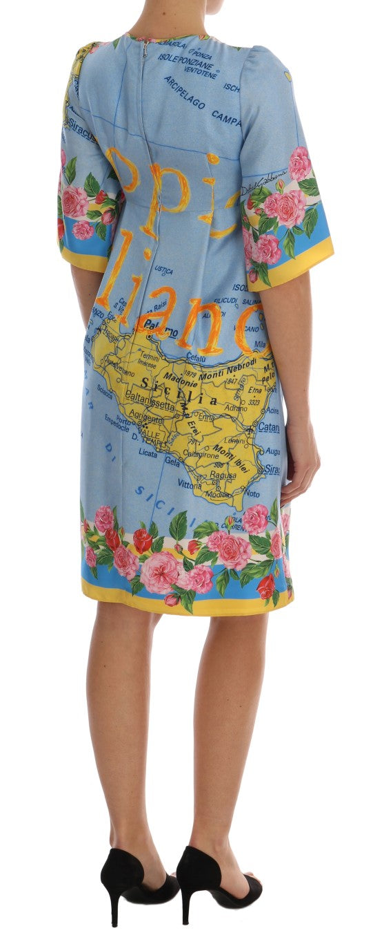 Multicolor Sicily Map Printed Dress