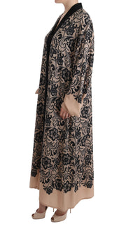 Black Pink Lace Silk Cape Dress