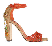 Orange Leather Cork Crystal Shoes
