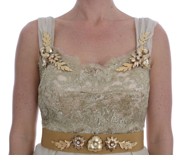 Gold Silk Crystal Embellished Dress