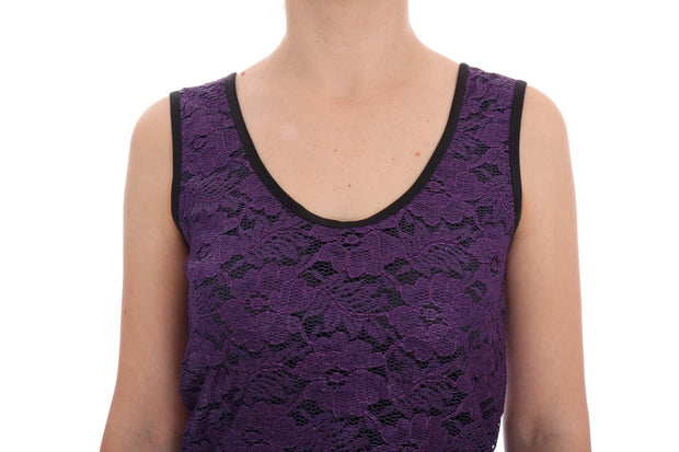 Purple Floral Lace Short Mini Shift Dress