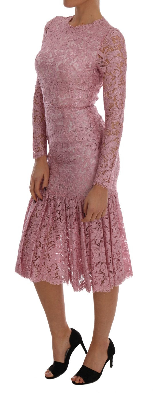 Pink Taormina Lace Floral Dress