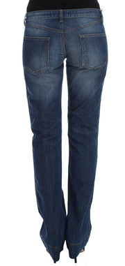 Blue Wash Cotton Stretch Boot Cut Jeans