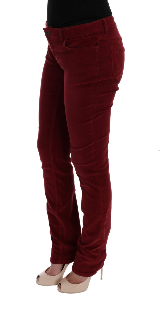 Red Cotton Corduroys Slim Fit Jeans
